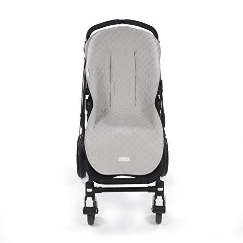 Pasito a Pasito. Funda silla Colección María de uso universal. Cubre silla de paseo de cochecito o bugaboo. Cubierta protectora suave y anti-sudoración. Color Gris.
