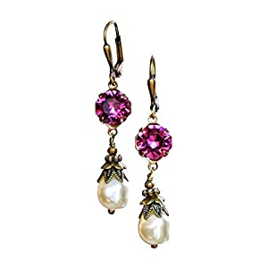 HisJewelsCreations Simulated Baroque Pearl Drop Earrings with Crystal by Swarovski Boho Womens Jewelry Gift Set Box…