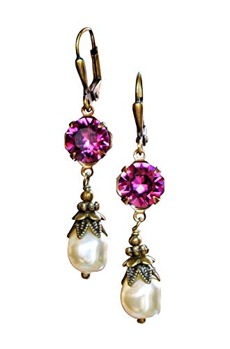HisJewelsCreations Simulated Baroque Pearl Drop Earrings with Crystal by Swarovski Boho Womens Jewelry Gift Set Box Holiday 3