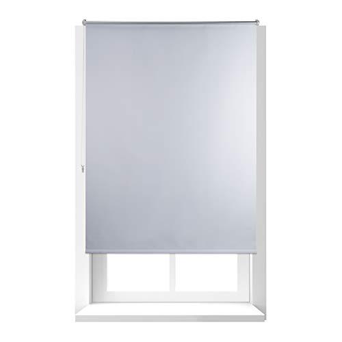 Relaxdays Estor Opaco Enrollable sin Taladrar, Tela-Aluminio, Ancho Tejido 116 cm, 120 x 160 cm, Blanco, 120 X 160