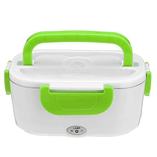 QFWM Caja de almuerzo eléctrica calentador de alimentos Contenedor de viaje de calentamiento rápido caja de almacenamiento para microondas (tamaño: 170 x 108 x 238 mm; color: verde)