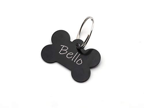 CopterFarm Hundeknochen, Haustier, Hundemarke mit Gravur beidseitig inkl. Schlüsselring | Knochen | Anhänger, ID Tag Hund, Adressschild, Adressmarke, Adressanhänger für Hundehalsband | Schwarz