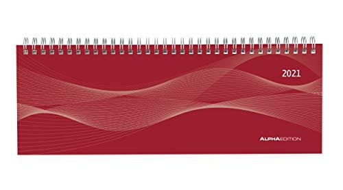 Alpha Edition - Agenda Settimanale Spiralata Da Tavolo 2021, Formato Grande 29,7x10,5 cm, Rossa