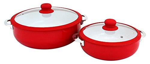Imusa Chi-80684 Ceramic Nonstick Caldero Set with Glass Lid 2-Piece (3.7, 6.9-Quart), Red