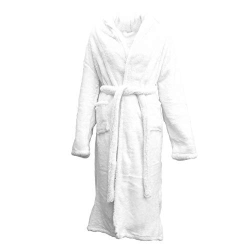 Supreme Home Bademantel für Damen und Herren, weich, warm, Fleece, 100 % Baumwolle, Weiß, weiß, M