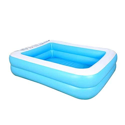 Aufblasbarer Pool Family Pool Garten Freien Pool Kinder Aufstellpool Planschbecken Pool rechteckig für Kinder Sommer blau (128x85x45cm)