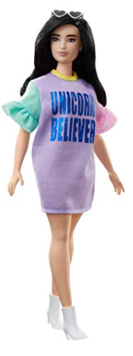 Barbie - Fashionista Muñeca con Pelo Negro y Piel Blanca con Vestido...