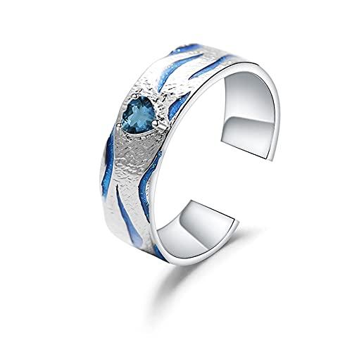 2 piezas de topacio azul natural hecho a mano anillo abierto ajustable para parejas anillo de esmalte de plata de ley 925 joyería fina Lovers