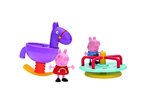 Jazwares PEP0491 - Peppa Wutz Wippe und Karussell Spaß, Abenteuer Spielset mit Peppa und Schorsch als exklusiven vollbeweglichen Spielfiguren, Original Peppa Pig Spielzeug Set für Kinder ab 2 Jahren