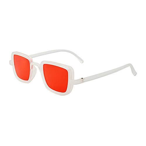 Gafas de sol con montura cuadrada, gafas de sol retro para hombre, gafas-marco blanco, película roja