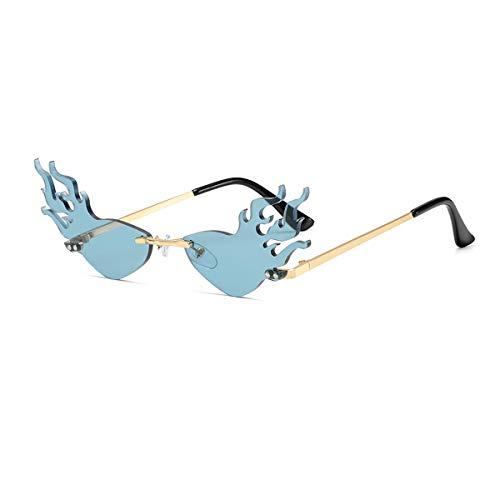 YOJUED Gafas de sol modernas con marco de llama, Rimless Wave, gafas de sol para fiestas, azul,