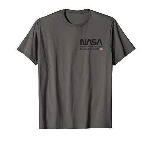 NASA Shirt, Worm Logo Abzeichen US Flagge Trendiges Grafik T-Shirt