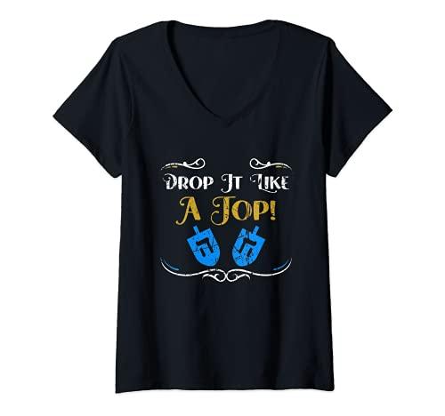Mujer Vintage Dreidel diciendo Hanukkah Spinning Top Toy judío santo Camiseta Cuello V