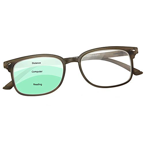 Progressive Reading Glasses Men & Women - No Line Gradual Multifocal Lenses, 3 Magnification Strengths in 1: +200 Reading, 100 Computer Desk, 50 Distance/Surroundings | Bonus Pouch Included