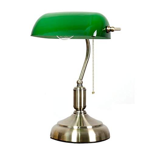 Lámpara de noche Latón lámpara de mesa de la vendimia esmeralda pantalla de cristal satinado Con Base Y con cuentas de metal conmutador de extracción dormitorio lámpara de cabecera Luz de escritorio