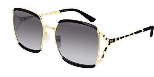 Gucci Unisex – Erwachsene GG0593SK-001-59 Sonnenbrille, Schwarz Gl nzend-Gold, 60