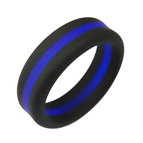 Preisvergleich Produktbild Weicher Silikonring 8 mm breit 2, 5 mm Dicke Kreativer Zwischenschicht-Fingerring Mode Fitness Sportringe Ehering - Blau - 8