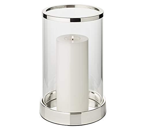 EDZARD Windlicht Sanremo, edel versilbert, anlaufgeschützt, Höhe 26 cm, Durchmesser 16,5 cm