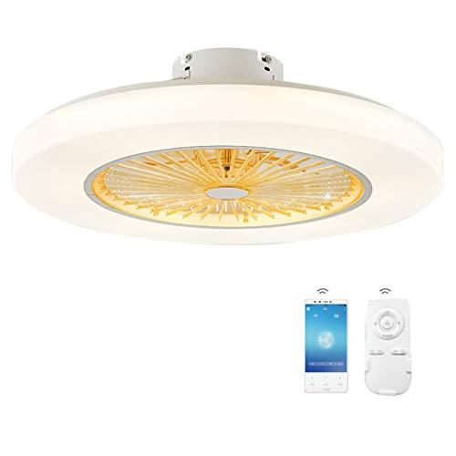 Ceiling Fan Light Deckenventilator Für Kinder Mit Lichtern, Unsichtbare Lüfterflügel, Fern- Und Bluetooth-Steuerung, Stufenlos Dimmbar LED Deckenleuchte, Ultra-leise Moderne Schlafzimmerlampe, Φ58 cm