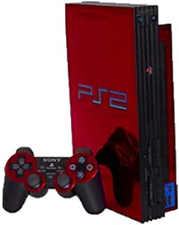 Red Chrome Mirror Vinyl Decal Faceplate Mod Skin Kit for Sony PlayStation 2 (PS2) Console by System Skins