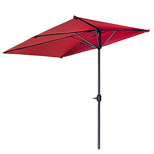 ZLI Paraguas de Jardín Paraguas Semicircular de Balcón, Rojo Sombrilla de Patio/Cafetería de 8ft/2.5m para el Lado de la Pared, Resistente a Los Rayos UV y a la Lluvia, Fácil de Instalar