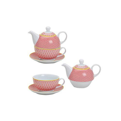 TEA FOR ONE Teekannen-Set 3-tlg Motiv RETRO rot Porzellan
