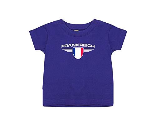 Shirtstown bébé Enfants-Shirt France, Armoiries, Land, Pays - Mauve, 0-6Monate