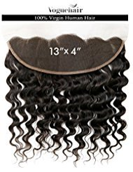 """Vogue Hair 100% Unprocessed Brazilian Virgin Human Hair Hand-Tied 13X4 Lace Frontal Closure Loose Deep (Natural Color) (14"""")"""
