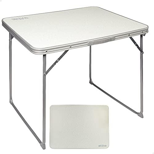 Aktive 52814 - Mesa camping plegable, Mesa ligera, patas plegables, 80x60x70 cm, madera MDF, estructura de acero, color blanco, asa de transporte