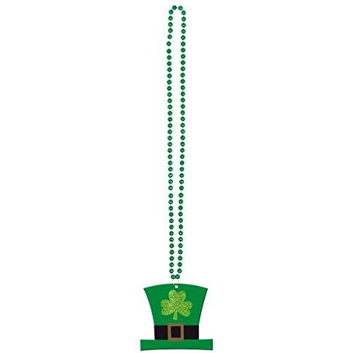 Amscan - 396742 - Collier avec perles de chapeau Leprechaun - 91 cm - Vert - 91 cm