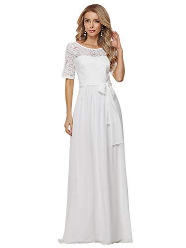 Ever-Pretty A-línea Encaje Talla Grande Vestido de Novia Cuello Redondo Largo para...