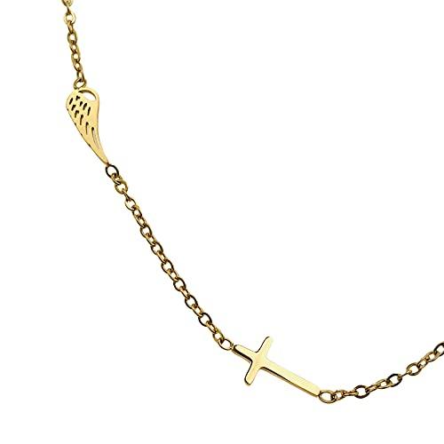 Collar famoso AISADI 20060452/14 para regalo, cruz con alas doradas antialergénicas de acero inoxidable quirúrgico BLUEBERRY TTM XUPING MOONRIVER STALESS STAINLESS STALELESS