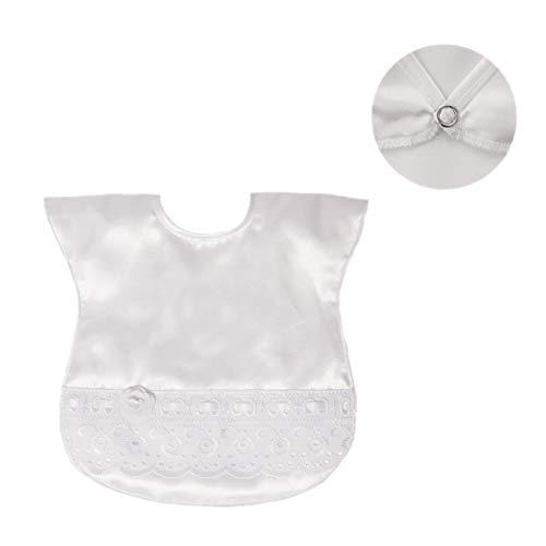 Bavoir de baptême pour bébé en satin blanc avec ruban rose rose brillant en dentelle tissée florale 0-6 mois