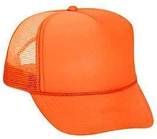 Neon Polyester Foam Front 5 Panel High Crown Mesh Back Trucker Hat