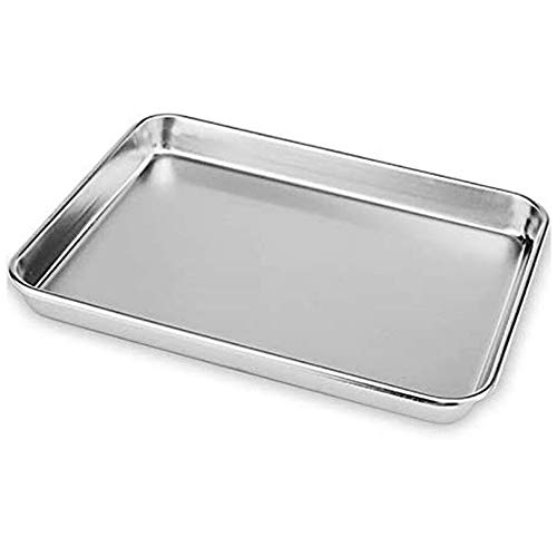 Wangcai Baking Sheet Chef Cookie Sheet Toaster Oven Tray Kitchen Steamer Stainless Steel Baking Pan Baking Dishes Kitchen Tool(22.8x14.8x1.2cm)