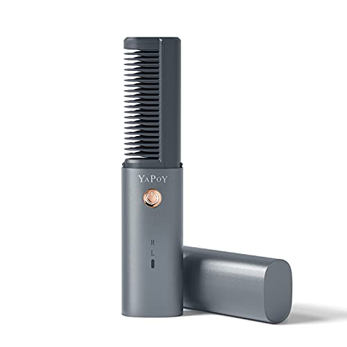 Spazzola Lisciante per Capelli Senza Fili con Batteria da 2600 mAh Piastra Lisciante Mini Tecnologia Ceramica MCH Funzione Anti-scottatura Denti Placcati in Metallo di Spegnimento Automatico Grigio