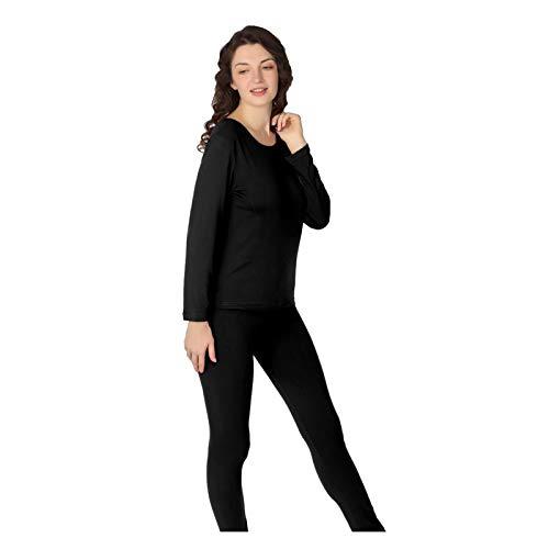 Jinqiuyuan Talla Grande S-9XL Ropa Interior térmica Mujeres Largas Johns para Mujeres Sexy lencería Ropa Interior Trajes de Invierno Grueso cálido 2 Piezas (Color : Schwarz, Size : L (45 50kg))