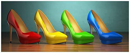 Wallario Acrylglasbild XXL Bunte Schuhe - High Heels für Frauen - 80 x 200 cm in Premium-Qualität: Brillante Farben, freischwebende Optik