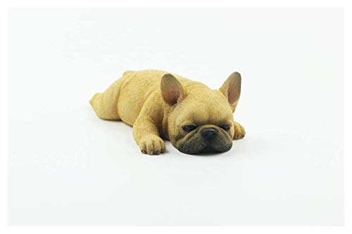 YIWANGO Statue Ornaments Sculptures French Bulldog Meng Sleep Small Law Simulation Animal Dog Model Sleeping Posture Method Cattle Car Decoration Red Cow Color Garden Decor Statues