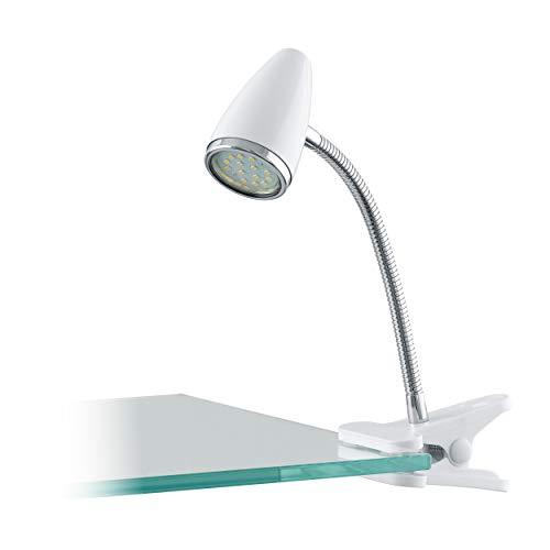 Eglo 94329 Spot LED à Variété Riccio 1 en acier inoxydable avec interrupteur câble plastique, blanc/chromé