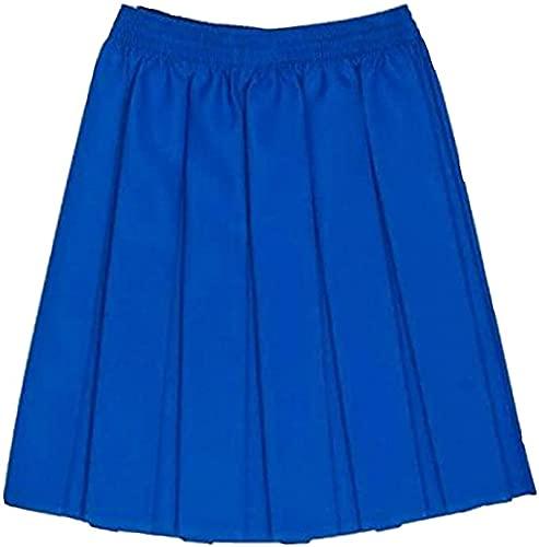 LUXE DIVA UK uniforme scolastica ragazze estate formale vestito fondo completo elastico scatola pieghe gonna solo uniforme ¨, Royal, 4-5 Anni