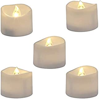 Realistic and Bright Flickering Battery Operated Flameless LED Tea Light, Pack of 12, 1.4x1.25 Inch, Electric Fake Candle ...