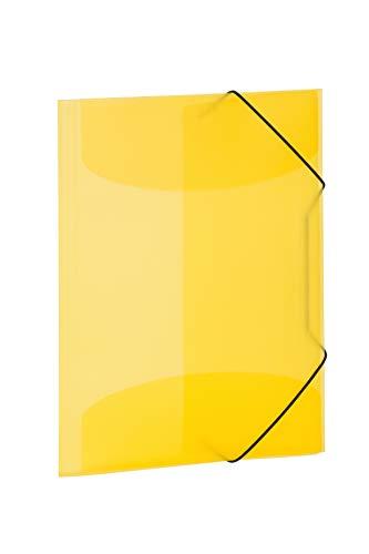 HERMA 19502 Sammelmappe DIN A4 Transluzent Gelb aus stabilem Kunststoff, abwaschbar und strapazierfähig, mit 3 Innenklappen, Gummizugmappe, Eckspanner-Mappe, 1 Zeichenmappe für Kinder