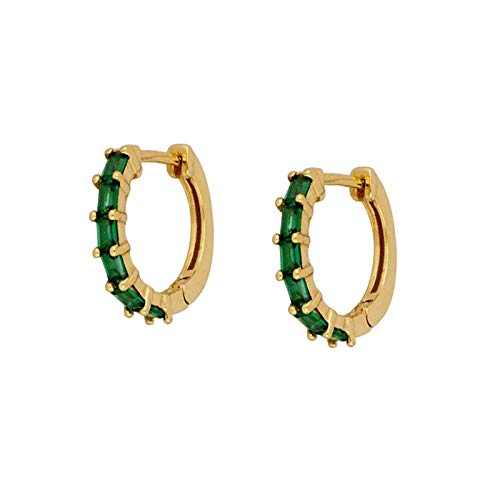 Earrings Women Studs Green Black Purple White Crystal Zircon 925 Sterling Silver Earrings For Women Round Circle Earrings Fashion Jewelry -Green_Gold