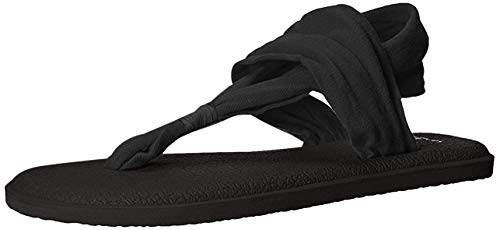 Sanuk Women's Yoga Sling Sandal, Black, 7 M US