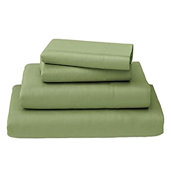 Callista 100% Cotton Sateen Sheet Set 600 Thread Count -King Size Stain Resistant -4 Piece Set -1 Flat Sheet 1 Fitted Sheet and 2 Pillowcase -Sage