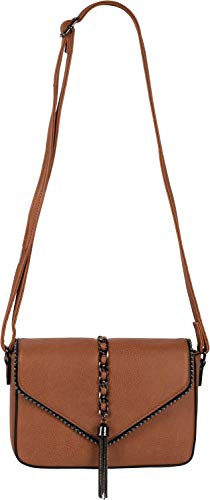 styleBREAKER dames schoudertas in enveloppenontwerp met bolletjes, ketting en kwastje, schoudertas, handtas, tas 02012274, Farbe:Cognac