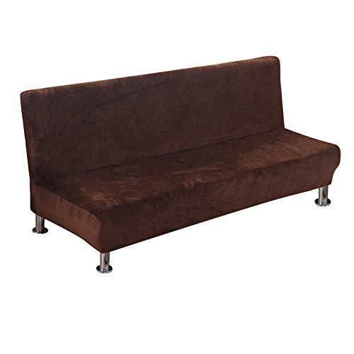 FEIGER Funda de sofá sin Brazos Funda de futón elástica Funda de sofá Cama Plegable sin Brazos Terciopelo marrón Oscuro