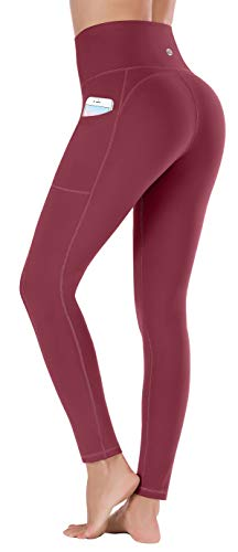Ewedoos Leggings mit Handytasche Sporthose Damen High Waist Sport Leggings Yogahose Damen Blickdicht Laufhose (E320 Weinrot, Medium)