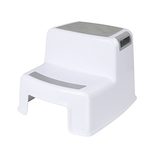 CUSFULL Dual Height Two Step Stool for Kids, Toddler's Stool for Potty Training and Baby Exercise Two-Step Design Non-Slip and Safety (White)